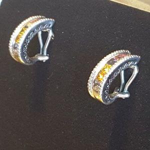 14 k white gold jeweled earrings